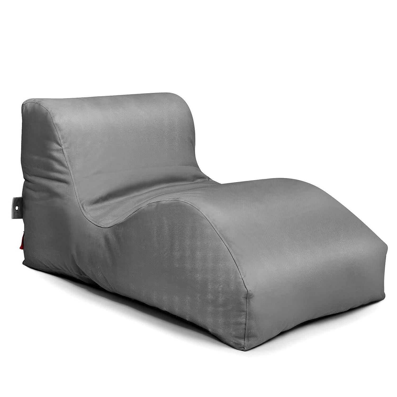 Outdoor Sitzsack Liege Wave Fabric wetterfest frostsicher Gartenstuhl Gartensessel Gartenliege für draußen Outdoor Lounge Gartenmöbel moderner Look (Anthrazit)