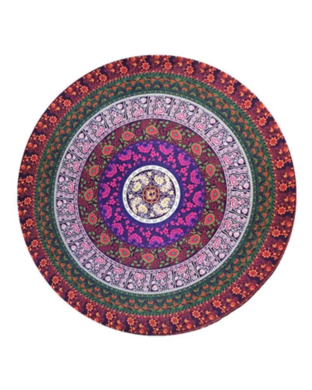 Puluo Mandala indio redondo Roundie playa manta tapiz protector solar redondo Shawl playa toalla para verano viaje vacaciones