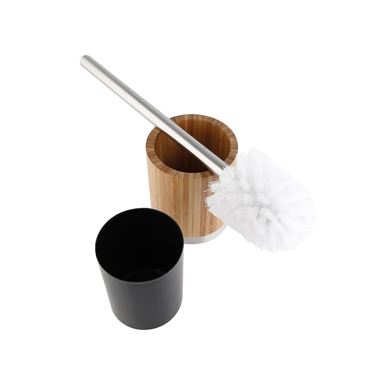 Axentia 282334 Scopino WC con Portascopino Bonja Metallo Marrone 9.5x9.5x36 cm