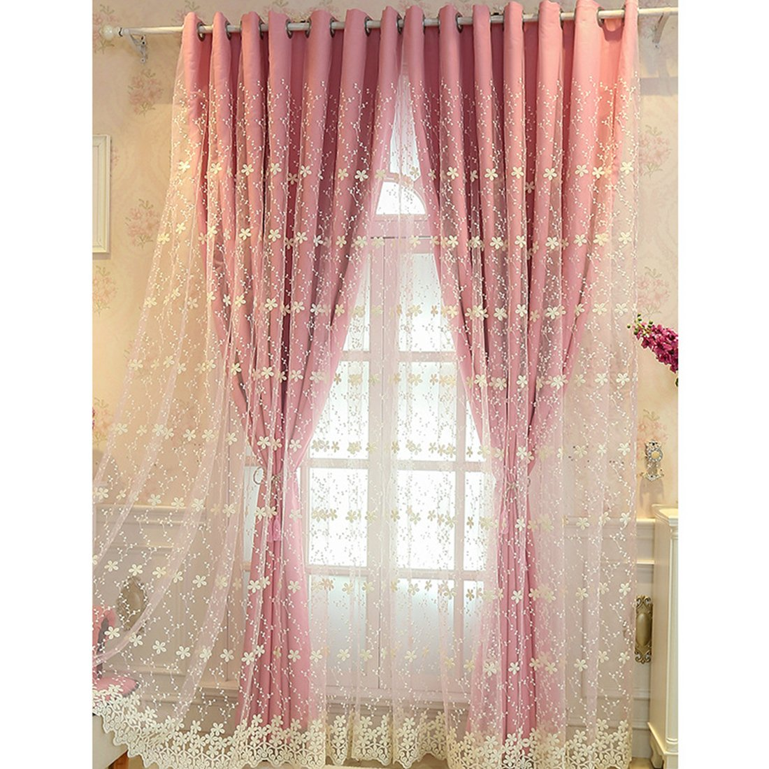 Didihou Embroidered Voile Mix Match Blackout Curtain Double Layer Darkening Thermal Insulated Window Treatment Grommet Drapes for Living Room Girls Bedroom, 1 Panel (42W x 63L Inch, Pink)