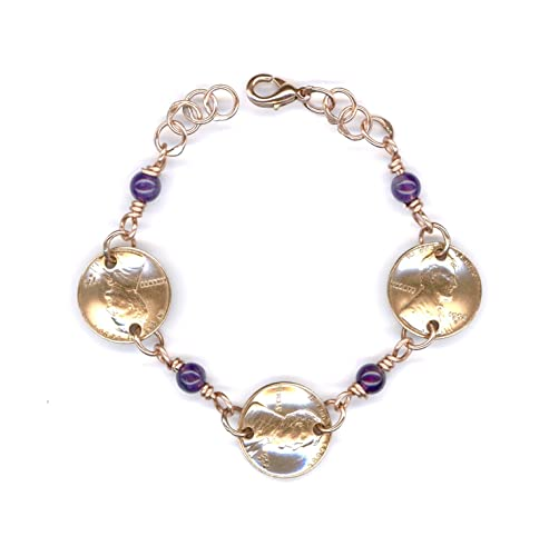 Amazon 65th Birthday Gift Ideas For Her February Birthstone Amethyst And 1952 Penny Bracelet Beads Women Handmade