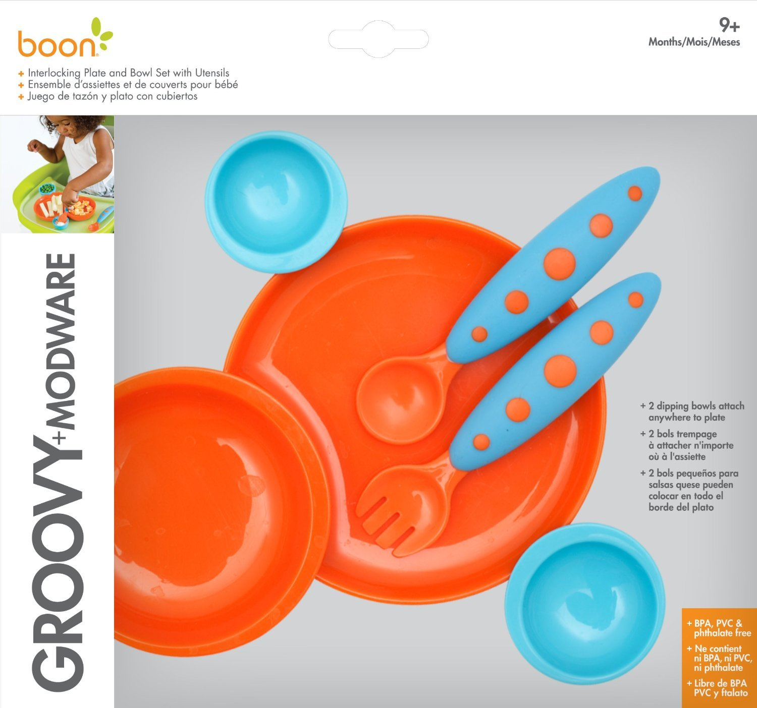 Amazon.com : Baby Feeding 3 Pc Bundle: Boon Groovy + Modware Interlocking Plate and Bowl Set with Utensils, Blue/Orange, Nuby 2 Count 2 Handle Cup with No ...