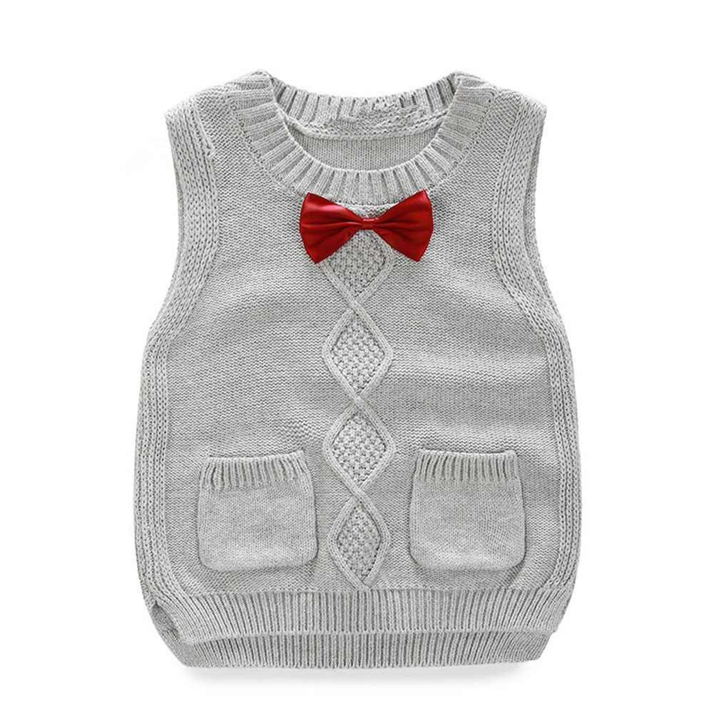 Toddler Baby Boy Girl Cable Knit Vest Cotton Bow Pullover Sweater