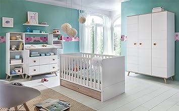 BABYZIMMER SET Babybett Kleiderschrank Wickelkommode Möbel WEIß EICHE SÄGERAU