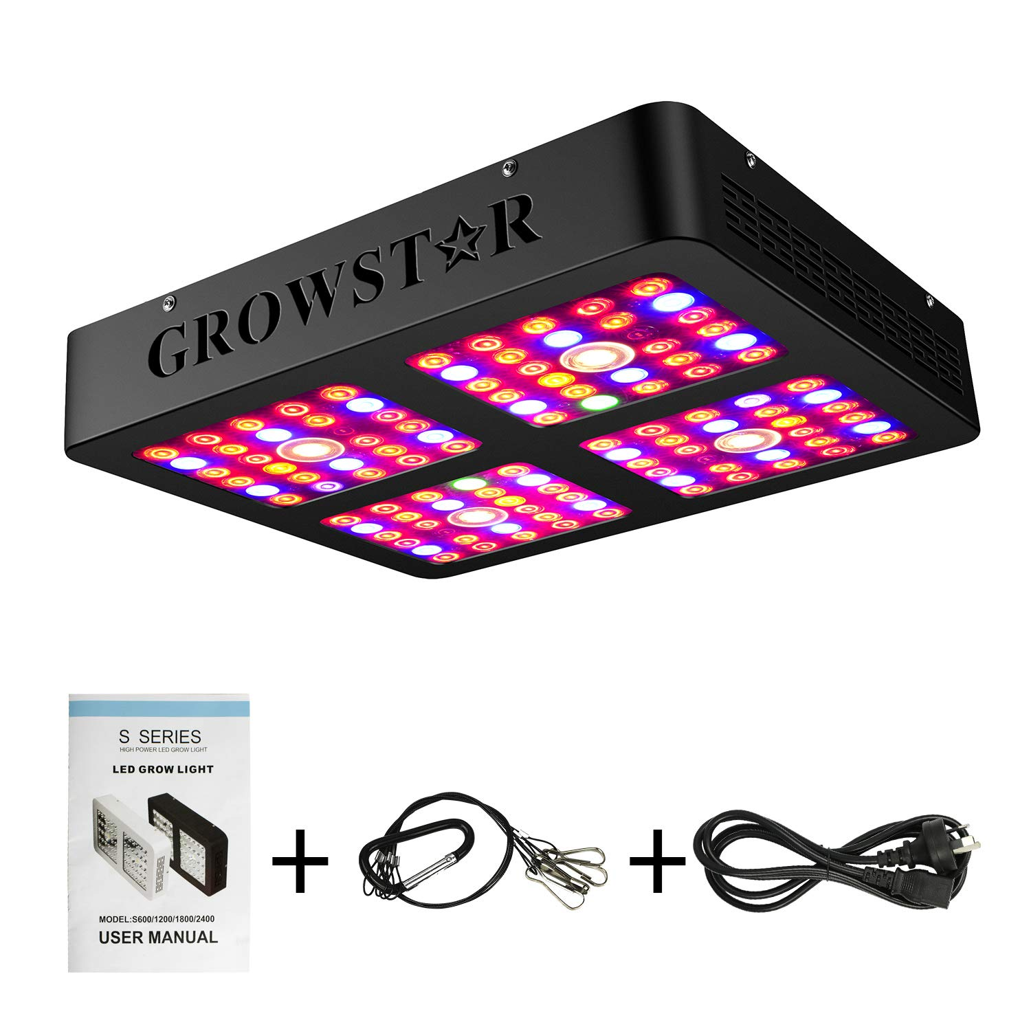 Growstar Reflector Series 1200W LED Grow Light, Full Spectrum 3000K CREE COBs and 10W Double Chips for Indoor Plants Veg and Flower,Daisy Chain Function