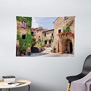 Ambesonne Tuscany Tapestry, Italian Streets in Countryside with Traditional Brick Houses Old Tuscan Prints, Wide Wall Hanging for Bedroom Living Room Dorm, 60