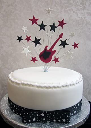 Pleasant Red And Black Electric Guitar Cake Topper With Black Red And Funny Birthday Cards Online Alyptdamsfinfo