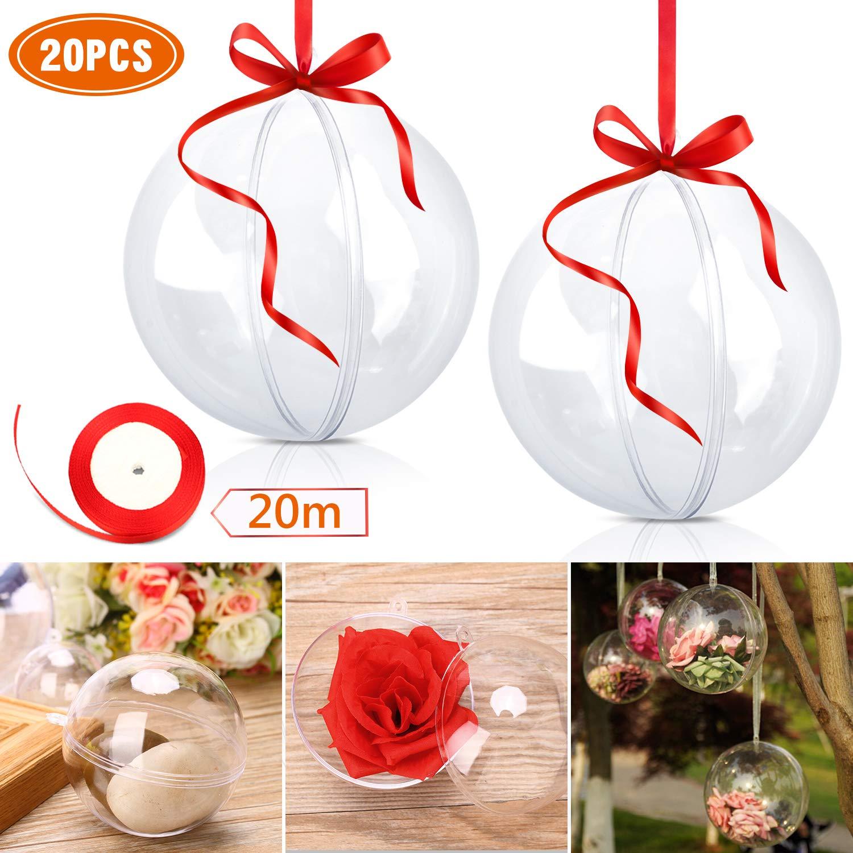 WisFox Bola de Navidad Transparente de 20 Paquetes, 80mm Clear Christmas Chucherías para llenar, Adornos de plástico a presión para decoración y Adornos, ...