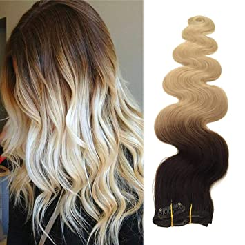 20 Long Wavy Blonde Ombre Clip Hair Extensions 70grams 7pcs Soft Heat Resistant Dark Brown To Bleach