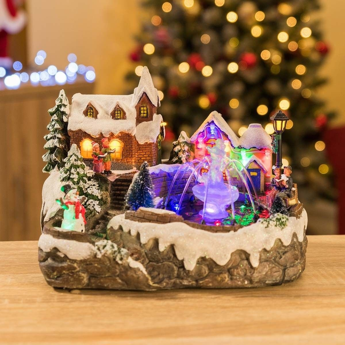 LED Christmas Water Fountain Musical Colour Changing Table Top Village Scene by Christow Decorations