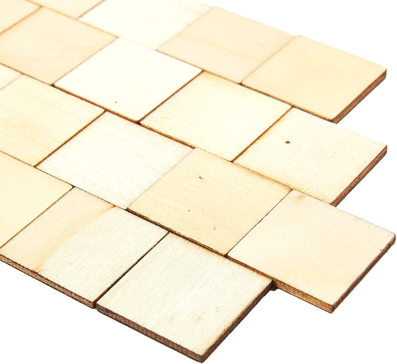 Natural Rustic Craft Wood for Home Decoration 100-Pack Wooden Squares Cutout Tiles 1 x 1 inches DIY Supplies Unfinished Wood Pieces