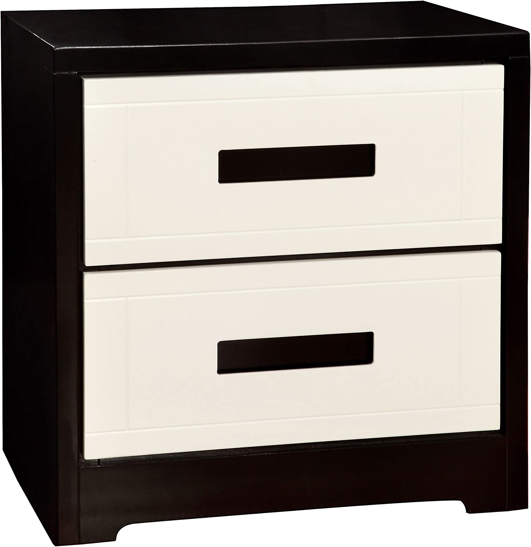 HOMES: Inside + Out ioHOMES Matthau's Modern Two-Tone 2-Drawer Nightstand, Black/White