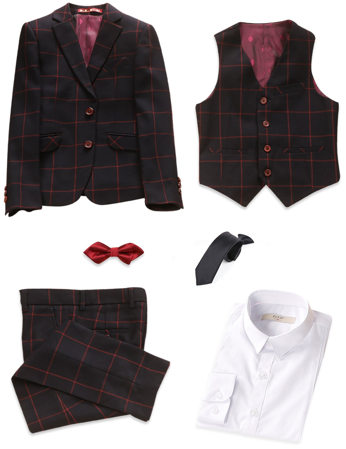 ELPA ELPA Boys Plaid Suit 6 Pcs Slim Fit Dress Formal Suit Set by ELPA ELPA