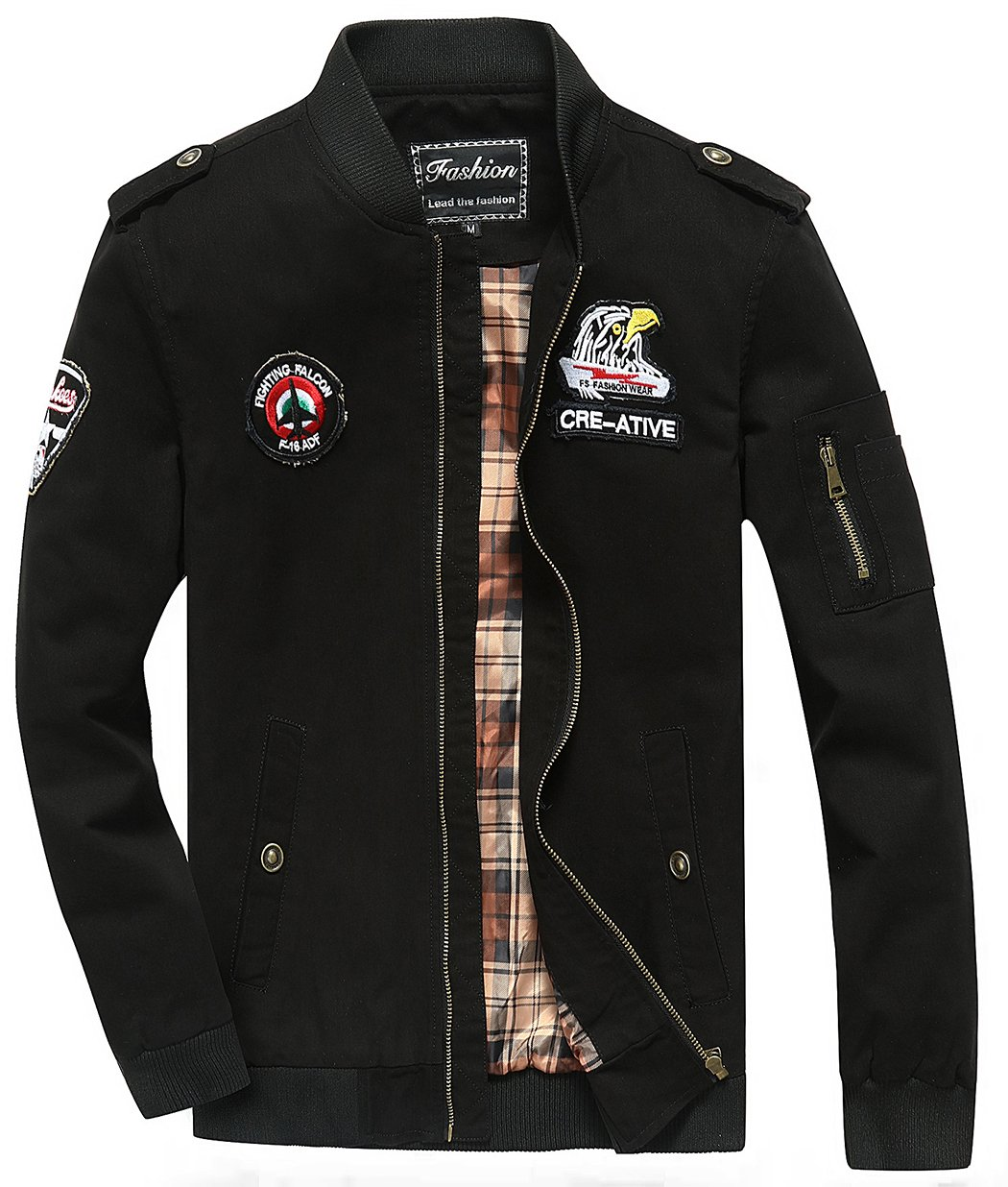 Sawadikaa Men's Military Cotton Lightweight Jacket Windbreaker Wind Trench Coat Bomber Jacket Black Large