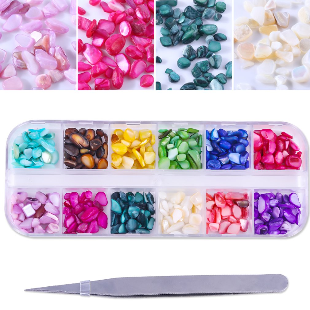 PINPAI 12 Colors Nail Art Stones Set, Mixed Irregular Shell Marble Stones with 1pc Tweezers Nails Tools For Glitter Manicure DIY Nail Art Rhinestone Decorations