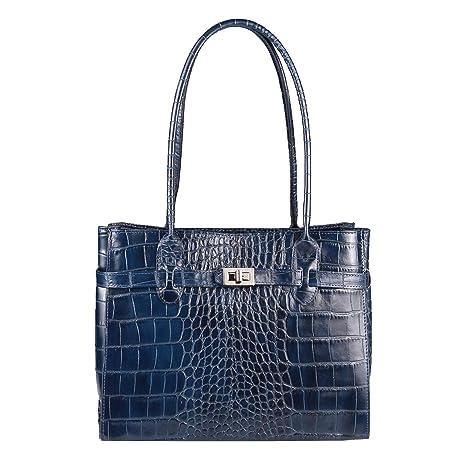 0e0d86bc9e86a OBC Made in Italy Damen Echt Leder Tasche Kroko-Prägung Business Shopper  Aktentasche Schultertasche Handtasche