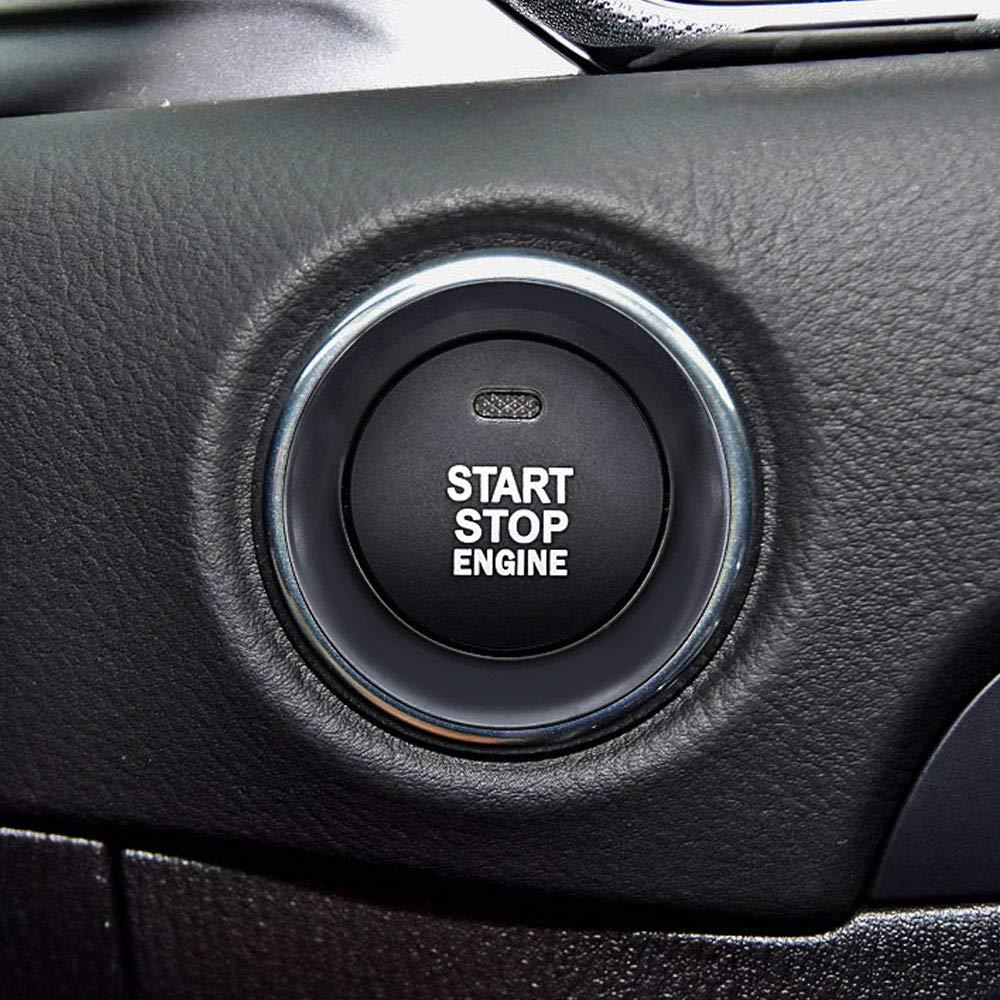 Ceyes Red Start Stop Engine Button Cover+Ring Push Button Ignition Switch Trim Push Start Button Ignition Start Stop Button Stickers for Mazda 2 3 Axela 6 Atenza CX-3 CX-4 CX-5 CX-9 MX-5 Miata
