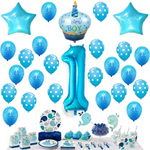 Blue 1st Birthday Boy Decorations - Large, 40 Inch | Number 1 Balloon with Mylar Cake and Star Balloons Pack | First Birthday Balloons | 1st Birthday Decorations for Baby Boy | 1 Year Old Birthday