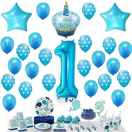 Amazon KATCHON 1st Birthday BOY Balloons Set