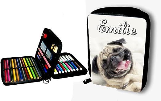 Estuche escolar garnie perro carlino personalizada con nombre elegir: Amazon.es: Hogar