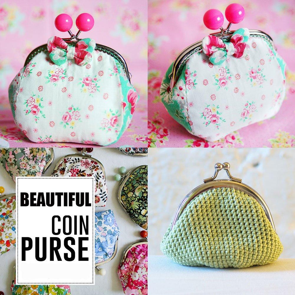 PandaHall, Elite - 10 cierres de hierro para monedero de mujer DIY, Kiss Clasp Locks con perlas acrílicas redondas, platino, color mixto, 68 x 85 ~ 87 ...