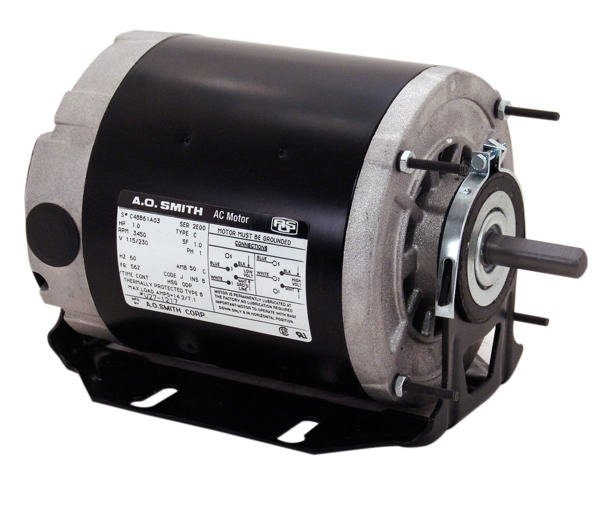 A.O. Smith SGF2054AV2 1/2-1/6 hp, 1725/1140 RPM, 115 volts, 56Z Frame, ODP, Sleeve Bearing Belt Drive Blower Motor