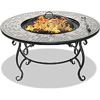 Centurion Supports Fireology Ginessa Table basse de jardin avec section centrale pour foyer, chauffage, plante, barbecue ou seau à glace, finition mosaïque en céramique