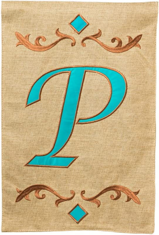 Evergreen Burlap Teal P Monogram Garden Flag, 12.5 by 18 inches