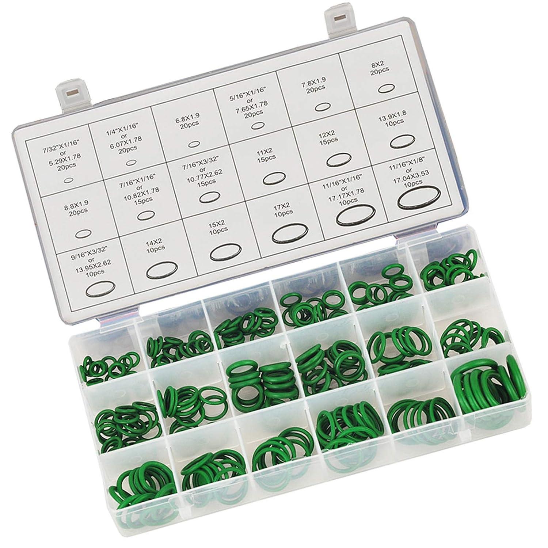 O ring, juntas de goma de nitrilo 18 tamaños verde pack 270