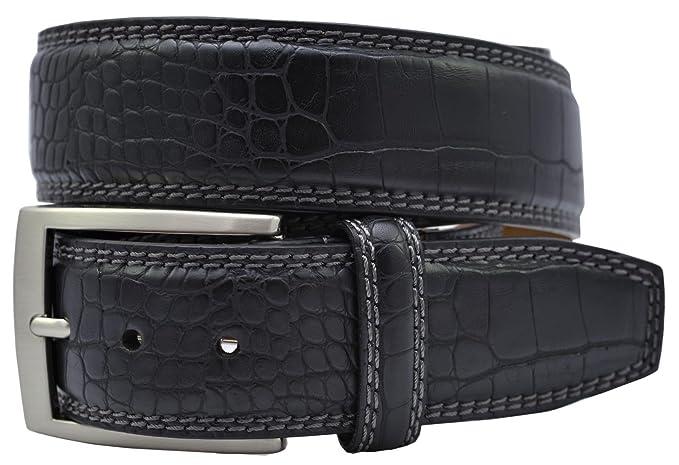 4fef1aab2ecbd Greg Norman Crocodile Print Leather Belt - Black at Amazon Men s ...