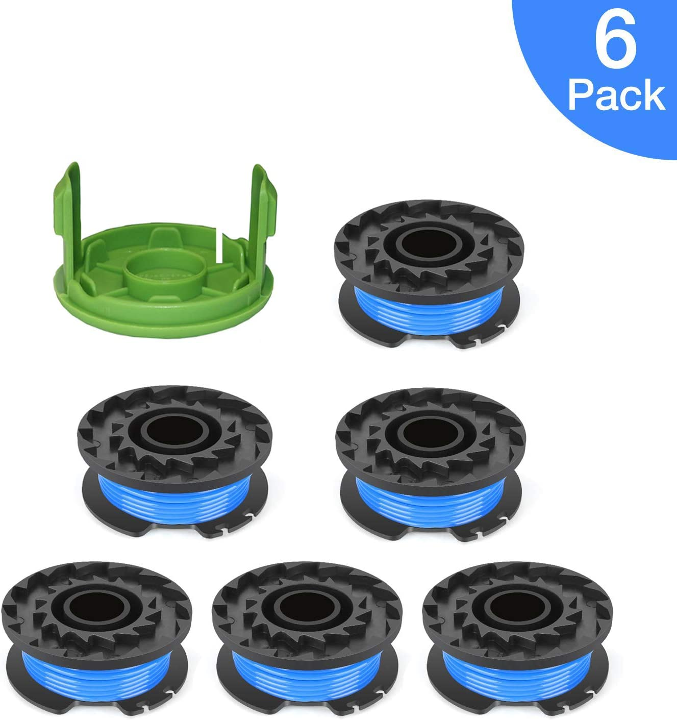 """THTEN Weed Eater Spools Replacement for Greenworks 29092 2130224 Volt 40V 80V Cordless Trimmer 16ft 0.065"""" Single Line String Trimmer with 3411546A-6 Cap Covers Parts Auto-Feed String Edger .(6 Spool"""