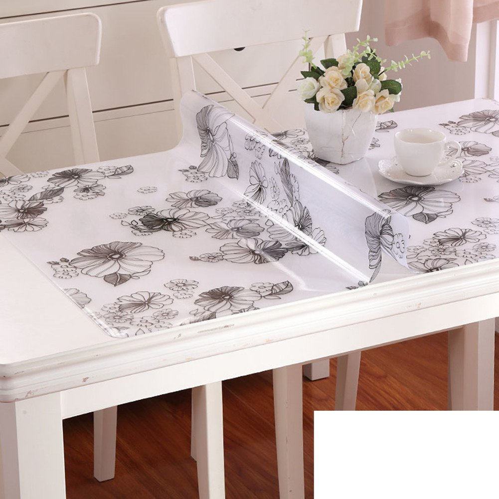 XKQWAN Pvc waterproof Oil-proof Disposable Soft glass Matte table mat Tea table mats flowers Waterproof printed tablecloth-L 70x140cm(28x55inch)
