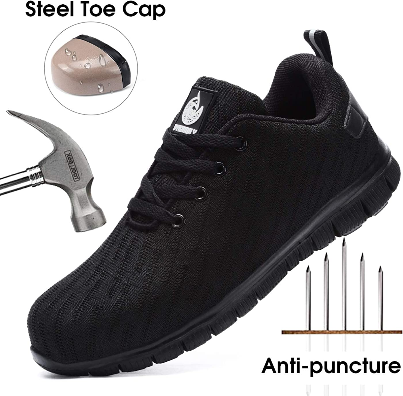 DYKHMILY Steel Toe Work Shoes for Men