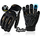 Vgo 3-Pairs Heavy-Duty Synthetic Leather Work Gloves, Impact Protection Mechanic Gloves, Rigger Gloves, High Dexterity, Vibration Reduction, Touchscreen Capable (Size L, Black, SL8849)