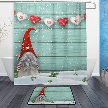 YZGO ALAZA Stylish Shower Curtain Set Cute Christmas Gnome Polyester Fabric Bathroom Suit With Mat