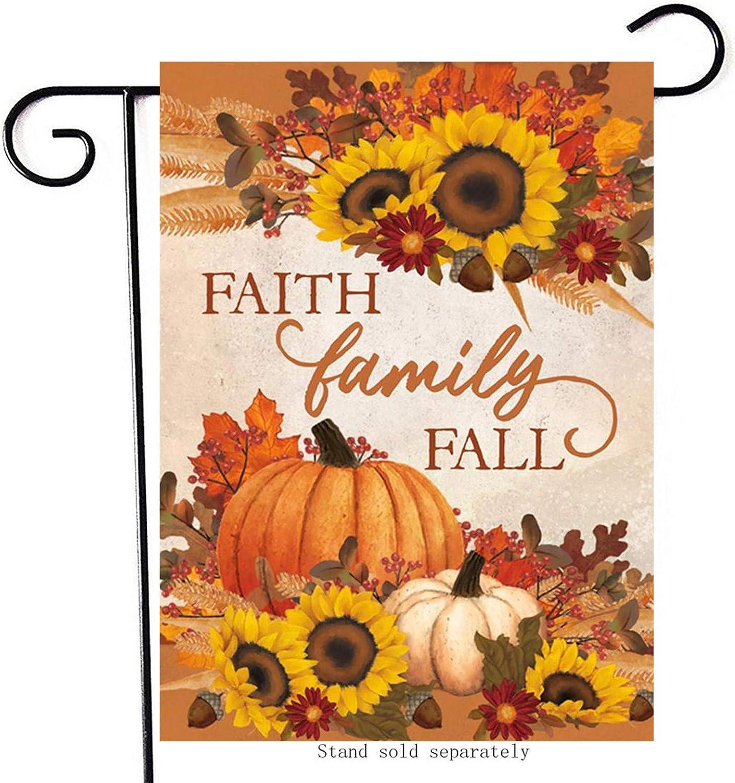 Artofy Faith Family Fall Decorative Small Garden Flag, House Yard Outside Pumpkin Sunflowers Farmhouse Decor, Thanksgiving Home Decorations Autumn Seasonal Outdoor Flag Vertical Double Sided 12 x 18