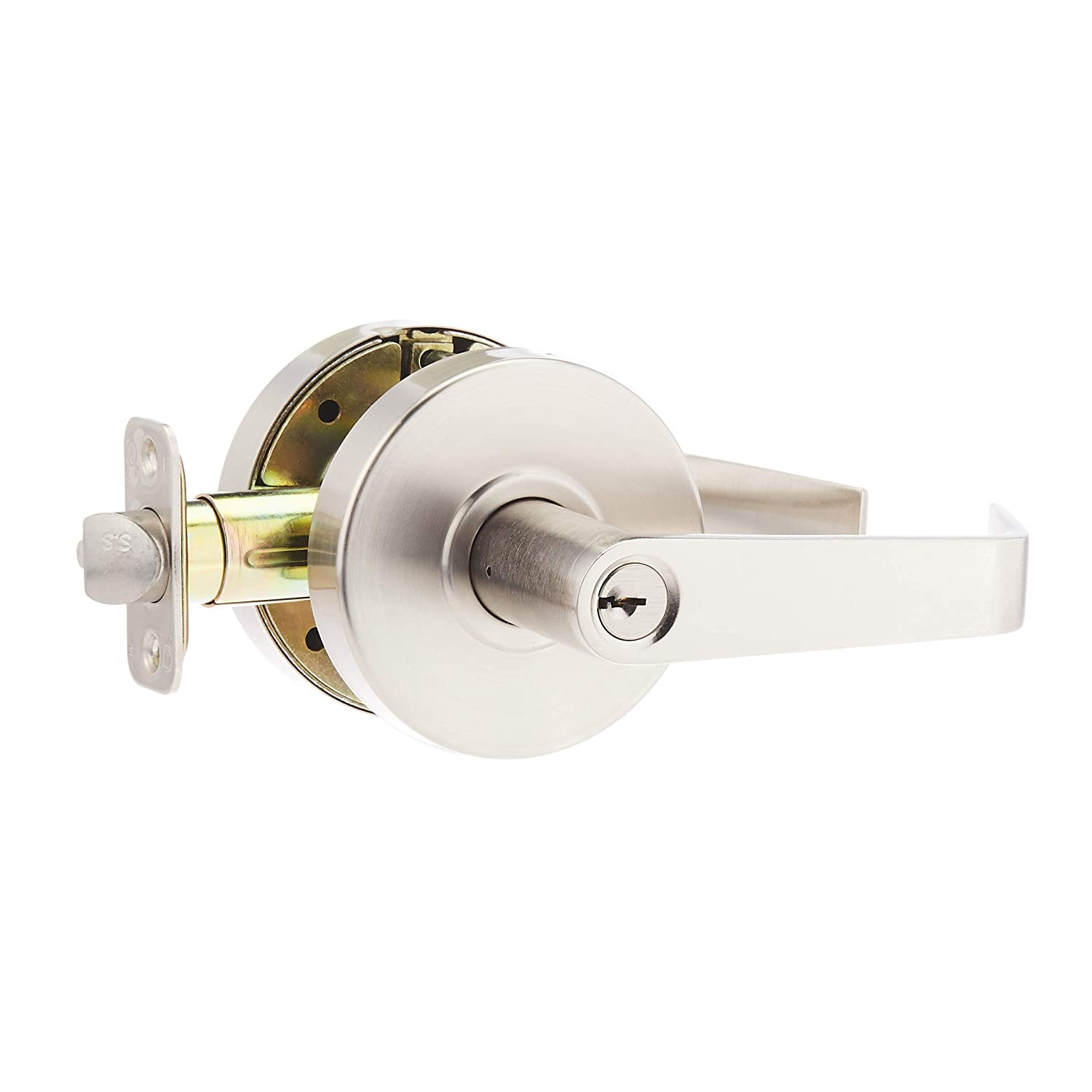 AmazonCommercial Grade 2 Commercial Duty Door Lever-Entry Lockset, Satin Nickel Finish, 2-Pack