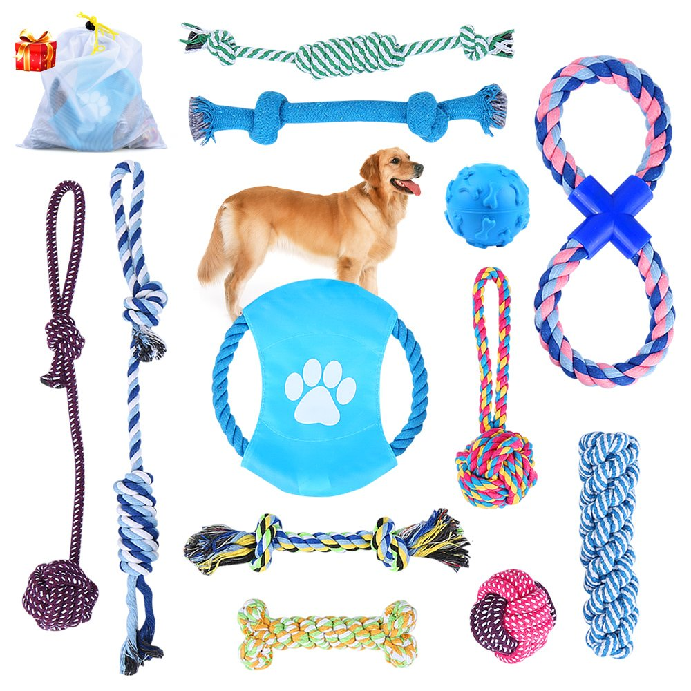 Dog Rope Toys Puppy Chew Toys Set of 12, HonFei Dog Cotton Rope Knot Toys and Dog Ball for Small Medium Large Breeds, Nature Teething Toy for Dental Health, Stress-Free Dog Training Gifts