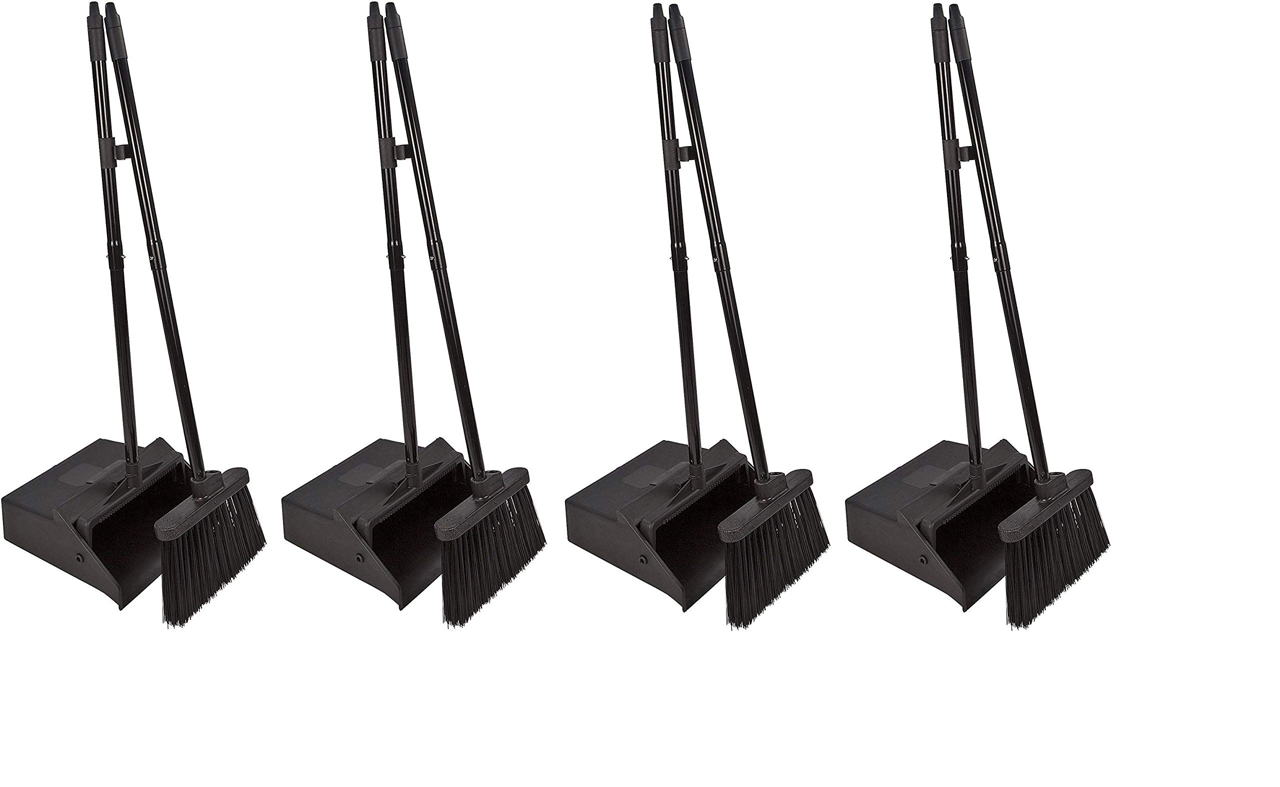 Carlisle 36141503 Duo-Pan Dustpan & Lobby Broom Combo, 3 Foot Overall Height, Black (Fоur Paсk)