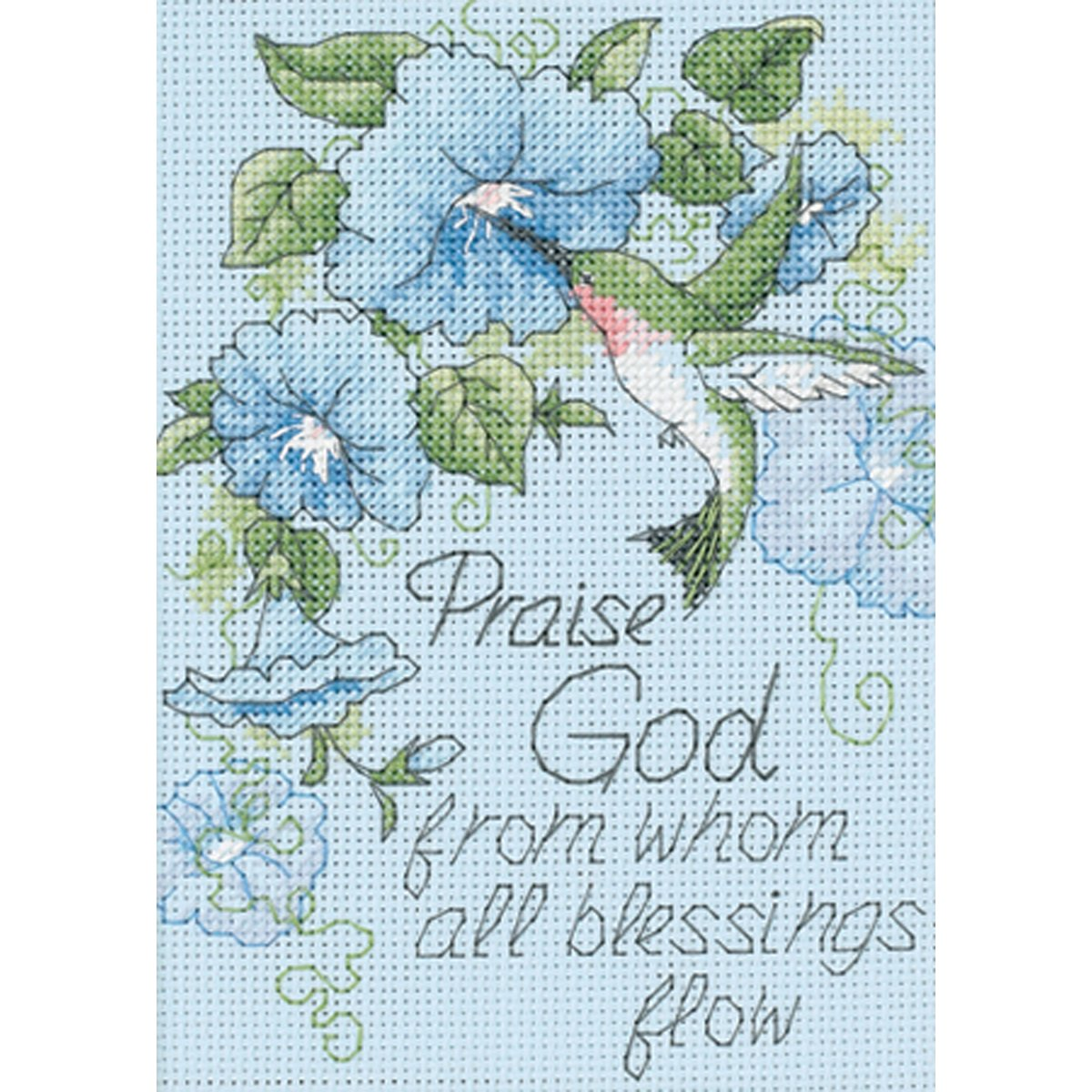 Dimensions Hummingbirds and Morning Glories Religious Counted Cross Stitch Kit 14 Count Light Blue Aida 5 x 7
