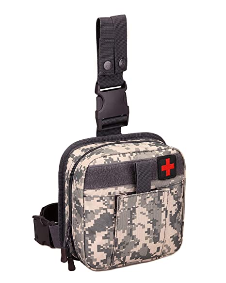 SINAIRSOFT Tactical Drop Leg IFAK Medical Pouch Bag,Individual First Aid  Kit Tool Fanny Thigh Pack Adjustable Detachable and Attachable for  Workplace