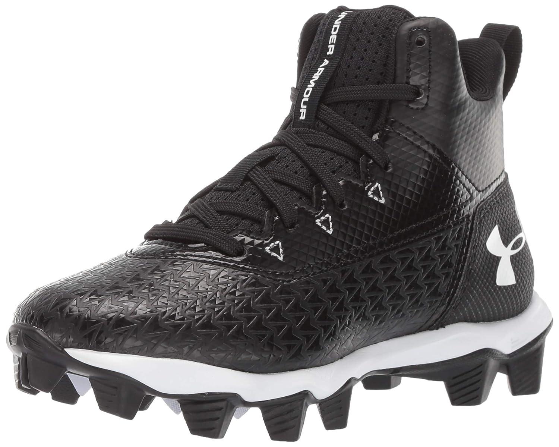 Under Armour Boys' Hammer Mid RM Jr. Football Shoe, 黒 (001)/白い, 5 M US Big Kid