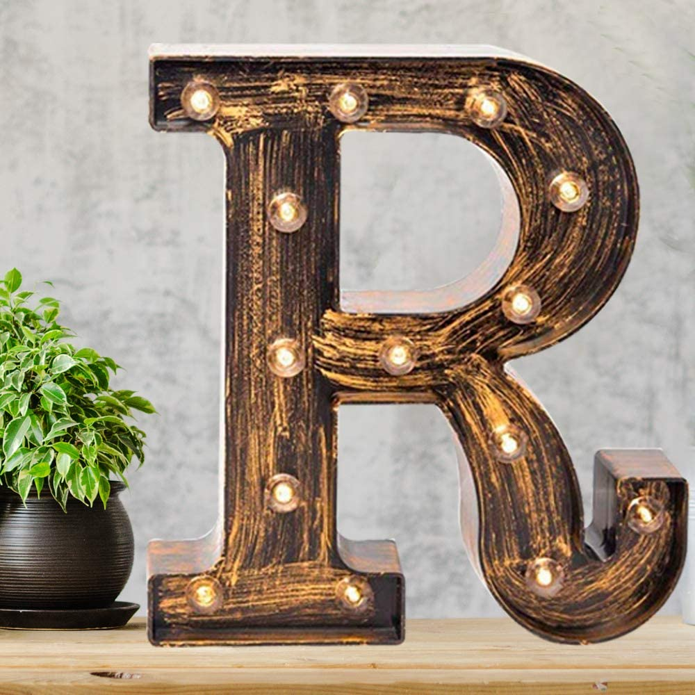 Amazon Com Pooqla Vintage Light Up Marquee Letters With Lights Illuminated Industrial Style Lighted Alphabet Letter Signs Coffee Bar Apartment Bedroom Wall Home Initials Decor R Home Kitchen