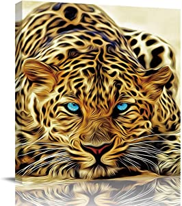 EZON-CH Framed Canvas Wall Art for Living Room Bedroom Office Wall Decor,Hand Painting Leopard Animal Prints Art Paintings Artworks for Home Walls,Easy to Hang,12x12in