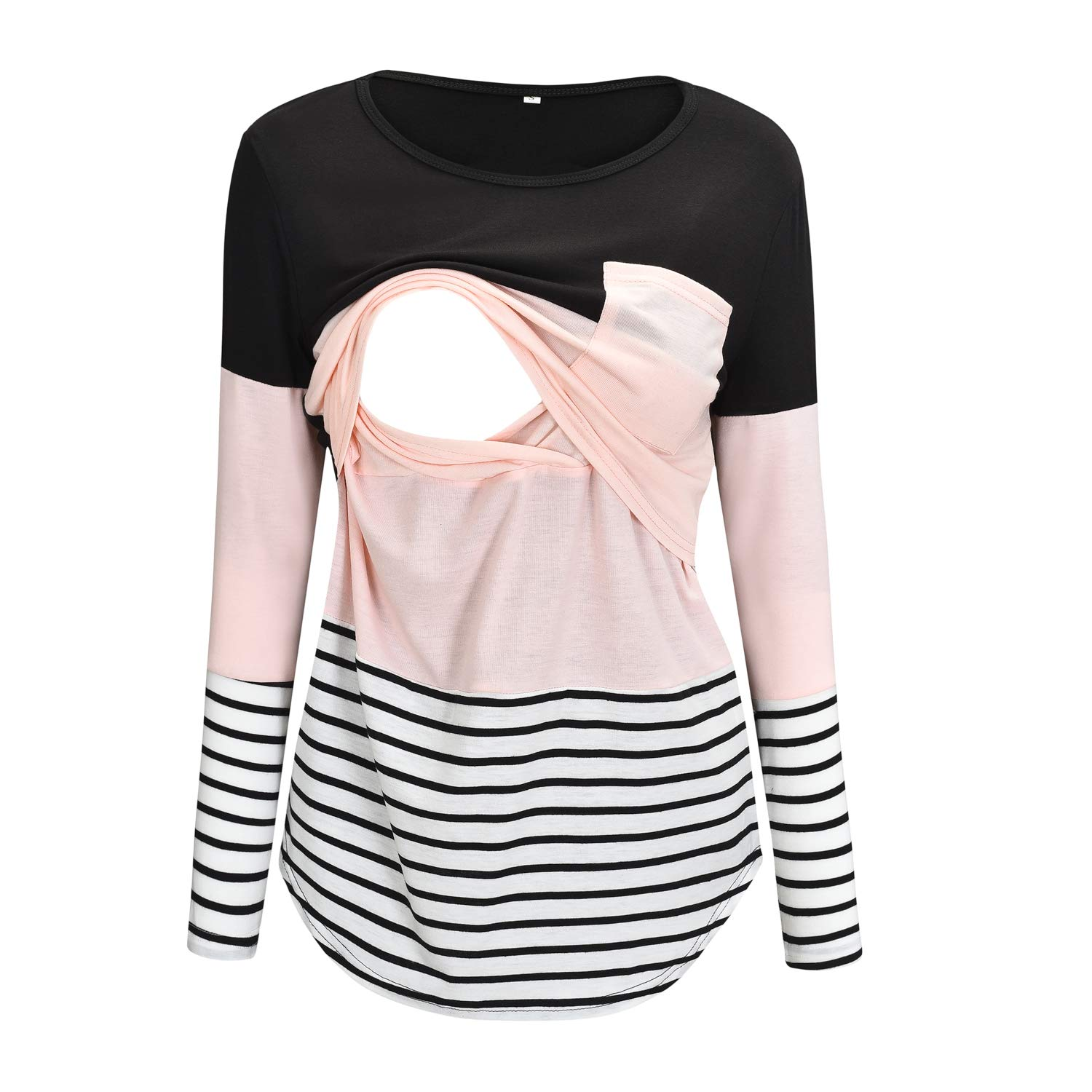 Bhome Nursing Shirt Color Block Maternity Top for Breastfeeding Pregnancy T-Shirt with Pocket