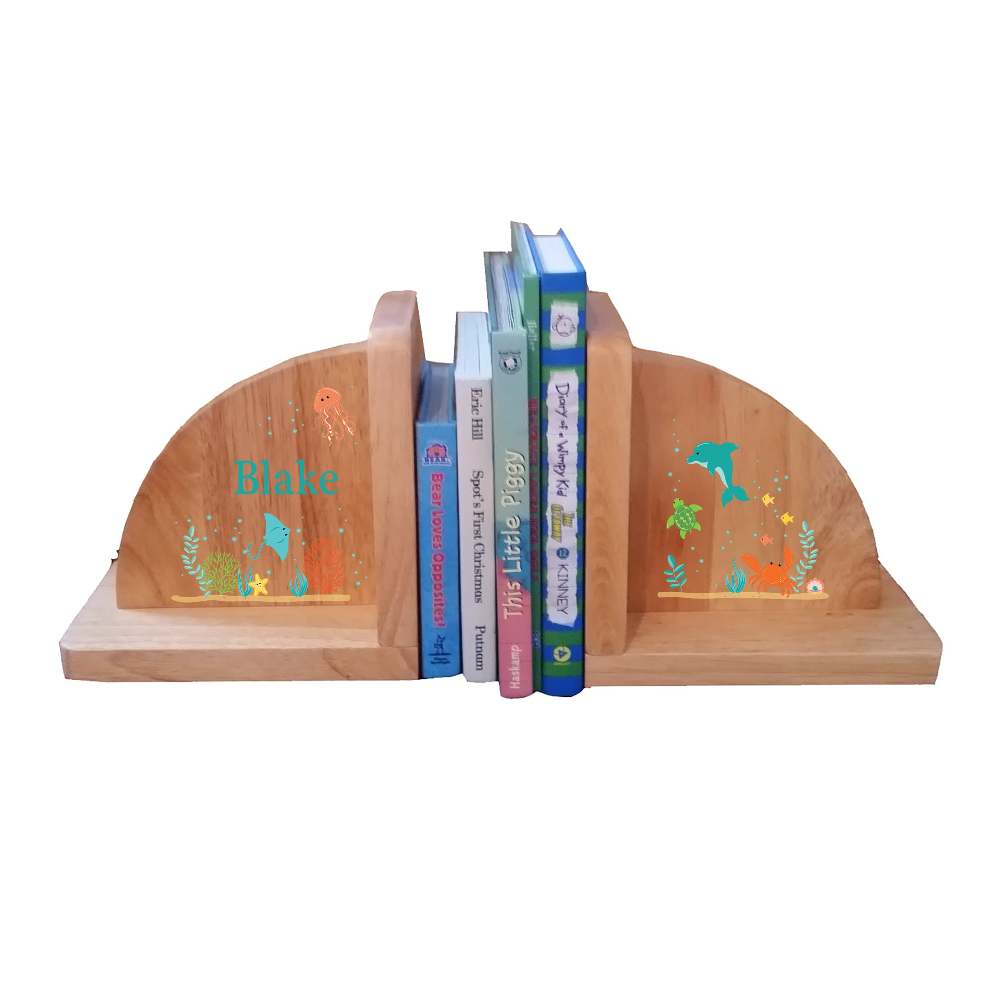 Personalized Sea Life Natural Childrens Wooden Bookends