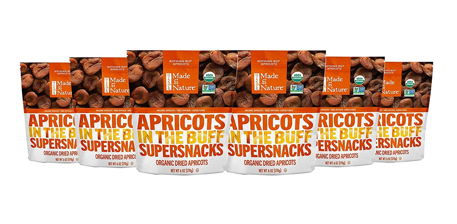 Made In Nature Organic Dried Fruit, Pitted Apricots, 6oz Bags (6 Count) – Non-GMO, Unsulfured Vegan Snack