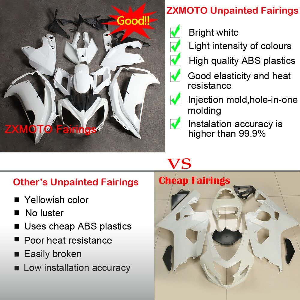 ZXMOTO Unpainted Fairings Kit for Kawasaki Ninja 650R ER 6F 2012 2013 2014 2015 2016 Tail Side Fairings Without Holes ABS Plastic Fairings Bodywork