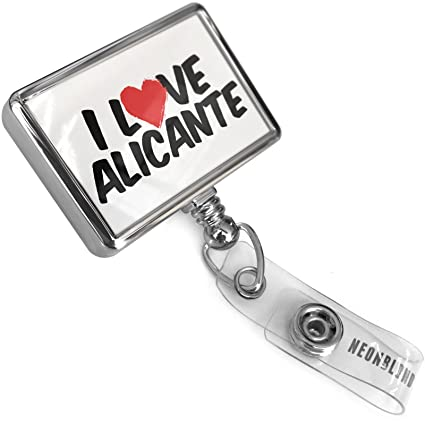 Amazon.com : Retractable ID Badge Reel I Love Alicante with Bulldog Belt Clip On Holder Neonblond : Office Products