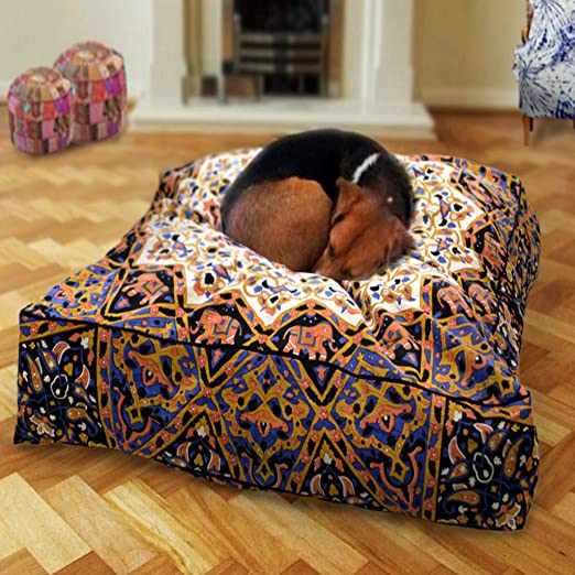 Made by Mandala Tapestry Bohemian Dog Bed Boho Mandala Cushion Cover red Decorative Pillow Cover pet beds Seating Pouf Cover Only GANESHAM Indian Boho Decor Handmade Floor Pillow